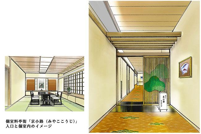個室料亭街「京小路(みやここうじ)」入口と個室内のイメージ